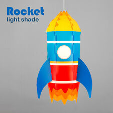 Childrens Boys Bedroom Nursery Space Rocket Ceiling Pendant Light Lamp Shade NEW