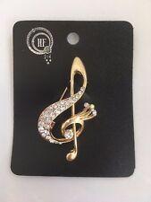 Pretty Music Note Diamante Crystal Brooch / Gold metal music symbol **NEW**