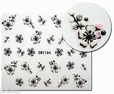 Nailart Sticker Aufkleber Nageldesign Schwarz Weiss mit Silber Glitter SMY194