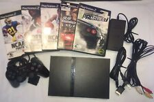 Sony Playstation 2 Slim PS2 With Controller AV Cable Power Cord 5 Video Games