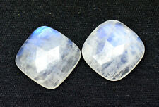 Lot Of 25 Pc AAA Quality Rainbow Moonstone 9 mm Cushion Rose Cut Loose Gemstone