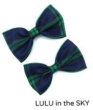 """X2 Azul y verde cuadros tartán cinta arquea 3 """"Rockabilly arcos del pelo en los clips"""