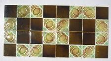 Art Nouveau ceramic majolica 8 tiles bargain clearance quarters