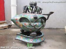 China Royal 100% Bronze handwork cloisonne Peach incense burner Censer