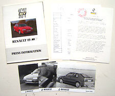 RENAULT 19 16 soupapes 1991 original uk press kit de lancement du marché