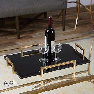 "ETTORE MODERN 24"" BLACK BEVELED GLASS SERVING TRAY ANTIQUED GOLD LEAF HANDLES"
