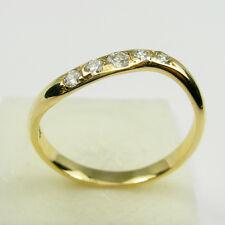 Round Brilliant Diamonds Gemstone Curl Band Ring Genuine 750 18ct Yellow Gold