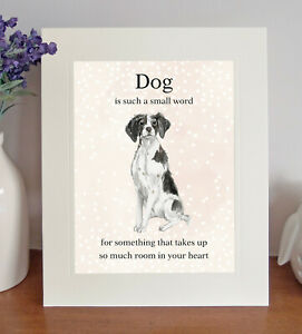 """Brittany (Black) """"Dog is such a small word"""" 8x10 Picture/Print, Sentimental Gift"""