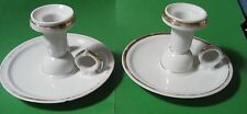 (2) White Porcelain Chambermaid Candle Holder with Handle & Worn Gold Trim