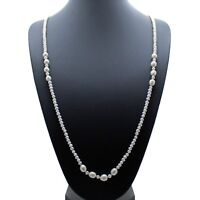 "Long Pearl Necklace White Cultured Freshwater Pearls 36"" Opera Length"