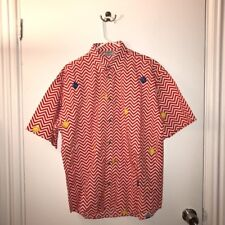 *Vintage* VERSACE Tennis Short-Sleeve Button-Up Shirt~ Medium Twin Peaks Pattern