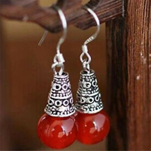 National Red agate ethnic style retro crystal earrings Wedding Classic Beautiful