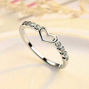 925 Sterling Silver Mini Heart Adjustable Ring Womens Girls Jewellery Gift UK