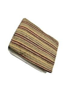 """Luxury 17"""" Drop Bed skirt Dust Ruffle Chenille Stripe Full / Queen Brown Tan Red"""