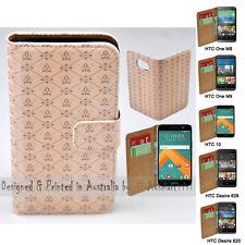 For HTC One X9 10 M9 M8 Desire 820 626 - Fleur de lis Print Wallet Phone Case
