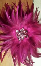 New White House Black Market Pink Fuchsia Feather Pin/Brooch Or Hair Clip