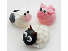 60 Royal Icing Farm Animals sugar pipings edible cake topper decorations 2cm