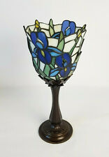 Retro Partylite Tiffany Style Leaded Glass Iris Candlestick Candle Votive 12""
