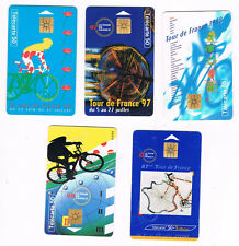 5 cartes téléphone cycling Cyclisme Tour de France 1996, 1997, 1998, 1999, 2000