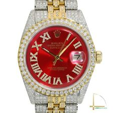 Rolex Datejust 36mm Mens Two-Tone Red Dial Fully Loaded Real Diamond Oyster Band