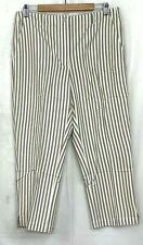 Orvis Womens Chino Pants Cotton Striped Beige Lightweight Cropped Slacks Size 12