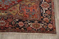 Antique Geometric Heriz Serapi Area Rug Wool Hand-Knotted Vegetable Dye 9'x12'