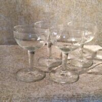 Mid-Century Bourbon Snifters, Clear, Etched with dot and stripe.Set of 4 G-1