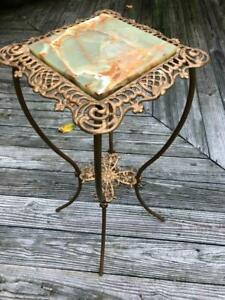 Vintage Victorian Ornate Cast Metal Green Onyx Plant Fern Stand Oil Lamp Table!