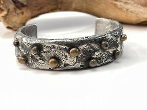 Custom handmade mixed metals cuff bracelet signed by artist