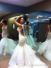 Neu Weiß Spitze Brautkleid Hochzeitkleid Perle Ballkleid Meerjungfrau Partyklied