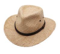 Raffia Straw Cowboy Western Fedora Sun Hat, Silver Canyon, Natural