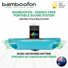 BambooFon - Energy Free Portable Sound System - Light Blue (Travel Bag Included)