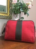 Coach Signature F05094 Red Leatherware Jacquard Clutch Bag Toiletry Travel M1