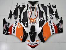Fit for CBR250R 2011-2013 Black Orange Reposl ABS Injection Bodywork Fairing Kit