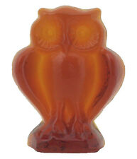 Eule aus Kristallglas in amber, durchgefärbtes Kristallglas - AE429