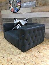 Alexander James grey leather snuggler Chesterfield retro modern contemporary NEW