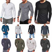 Mens Slim Fit O-Neck Long Sleeve Muscle Tee T-Shirt Casual Tops Blouse Shirts