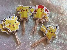 Pokemon Cake Picks / Flags Party Cupcake Decorations X 12