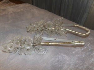 Vintage Glass Flower Maison Bague Style Drapery Tie Back Hooks