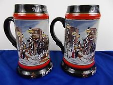 """Budweiser Holiday Stein """"A Perfect Christmas"""" Beer Stein lot 2 clydesdales 1992"""