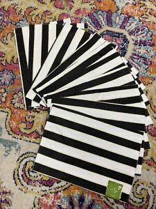 NWT Kate Spade Placemat lot of 10, black white gold striped, Augusta Drive