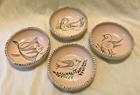 """Set of 4 Mexican Pottery Medium Bowls 7"""" Natural with Handpainted Animals"""