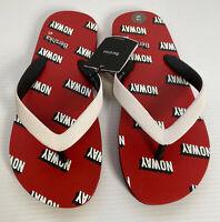 Ladies Red White Bershka Flip Flops Sandals Thongs Size 6.5 UK EU 40