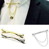 Men Gold Silver Slim Collar Pin Stainless Steel Skinny 5.6CM Tie Clip Clasp Bar