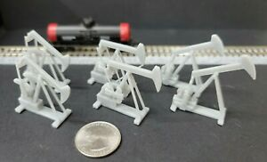 Set of 6 Oil Field Pump Jacks in (3) Different Positions 1:160 N Scale Unpainted