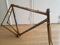 BENOTTO vintage steel frame cadre road route OR GOLDEN rare Italian frame old