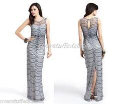 NWT $475 Aidan Mattox Illusion Neck Beaded Gown Silver Gray 6