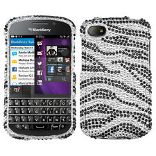 For BlackBerry Q10 Crystal Diamond BLING Hard Case Snap On Phone Cover Zebra