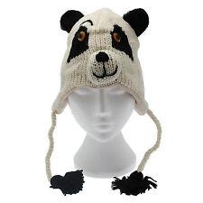 Divertido Panda hecho a mano invierno animal de lana gorro. forro polar ,