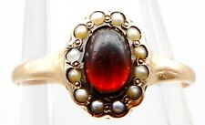 VICTORIAN Solid 14k Yellow Gold / Garnet / Pearls Ladies Ring Size 5